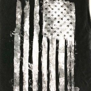American Flag Black & White Design T-Shirt sz M